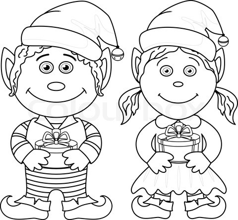 4705043-67157-christmas-elves-boy-and-girl-outline